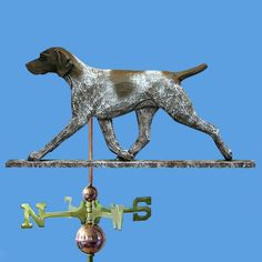 German Shorthaired Pointer Dog Weathervane - this custom wooden hand carved German Shorthaired Pointer weathervane is a superb work of art. It is available in two different sizes: 22