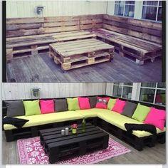 DIY turn wood pallets into beautiful lounge deck furniture