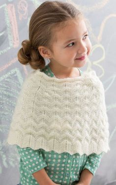Free Knitting Pattern for Child's Chevron Poncho - This Girl's Poncho features an easy welted chevron pattern. Fingering weight. Sizes 2-8. Designed by Beth Whiteside for Red Heart. I think this would be a cute flower girl cape. Available in English and German.