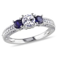 10k White Gold Round I2-I3 Diamond,Created White & Blue Sapphire Ring, 1/7 ctw