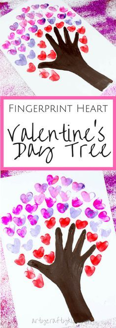 Arty Crafty Kids | Valentines Day Crafts for Kids | Fingerprint Heart Valentine's Day Tree art for kids #valentineskidscrafts #handprinttree #valentinescraft