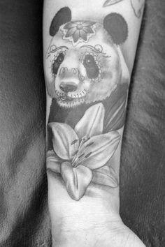 Panda#tattoo#flower. No sugar skull design