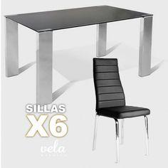 Mesa para comedor moderna patas en acero inoxidable con for Sillas comedor patas cromadas