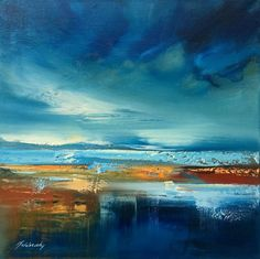Buy Melting Ice - 40 x 40 cm, abstract landscape oil painting in blue and brown, Oil painting by Beata Belanszky Demko on Artfinder. Discover thousands of other original paintings, prints, sculptures and photography from independent artists.