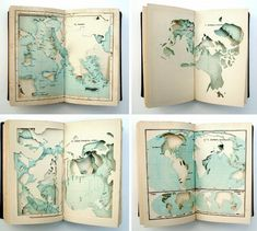 Fabio Morais -- Offering to Iemanjá for a Happy New Year (2007), cut atlas. All the continents and islands have been cut and removed from this atlas, leaving only the oceans and seas.