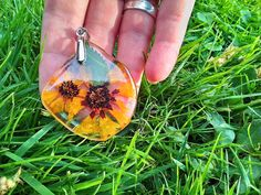 Ice resin pendant with real dried yellow flower and by byRima