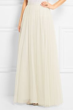 Ivory tulle Concealed hook and zip fastening at back 100% nylon; lining: 100% polyester Dry clean Designer color: Chalk Imported