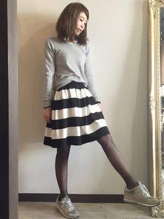 shmさんのWOMEN⁄スカート「GU (GU)ポンチボーダースカート」を使ったコーディネート