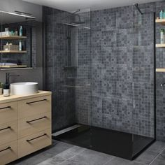 Perete dus walk-in 90 x 200 cm negru 8 mm Remix Sensea Color Harmony, Small Rooms, Transparent, Tile Floor, Bathtub, Shower, Bathroom, Storage, House