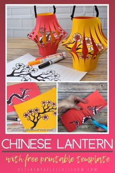 Learn more about the Chinese New Year celebration while making these Chinese paper lanterns with free printable tempaltes. Chinese New Year Crafts For Kids, Fourth Of July Crafts For Kids, Chinese New Year Activities, Chinese New Year Party, Chinese New Year Decorations, Chinese Crafts, New Years Activities, Art For Kids, Asian Crafts
