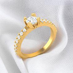Lauretta Diamond Studded 4 Prong Solitaire Ring  #zaamordiamond #solitairering #solitaire #solitairediamondring