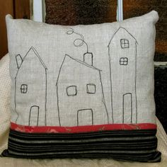 This is a wonderful, textural, linen pillow cover. All the fabrics are medium/heavy weight linen. The pillow is completely handmade by me. The houses