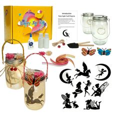 Fairy and Unicorn Night light Lantern Craft Kit, DIY Make Your Fairy Lantern Jar, Arts Crafts Idea for Girls age 6 7 8 12 Pack) Crafts For Girls, Arts And Crafts, Paper Crafts, Kids Crafts, Fairy Lanterns, Fairy Lights, Lantern Craft, Fairy Jars, Paint By Number Kits