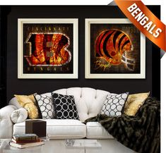 2 Cincinnati Bengals Vintage Map Art - Perfect Valentines or Birthday Gift - Unframed Prints