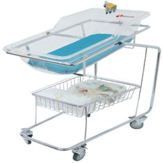 Neonatal trolley KNT-A101 KNT-A101 neonatal trolley is specifically designed to deliver comfort and safety for newborns. They are available in two sizes of baby pad and baby trolley. The baby basket is made up of transparent acrylic.