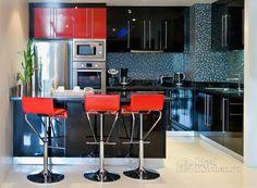 дизайн кухни в стиле хай тек - фото