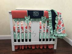 3 piece set- no blanket Coral, Navy, and Mint Mini Crib Bedding, Baby Girl Mini Crib Bedding, Girl Mini Crib Baby Bedding Mini Crib Bedding, Pink Bedding, Coral Navy, Peach And Green, Cribs, Nursery, Blanket, Handmade Gifts, Baby Rooms
