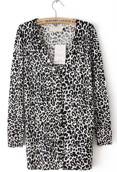 White Leopard V Neck Long Sleeve Kint Long Sweater US$31.31- also a great website for clothing!