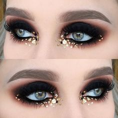 Best Black and Gold Eye Makeup Looks-Black and gold makeup always gives me some Egyptian vibes. I see such looks and imagine ancient pharaohs and gorgeous divine priestesses. And that makeup absolutely loved by modern girls Makeup Inspo, Makeup Art, Makeup Inspiration, Beauty Makeup, Makeup Ideas, Burlesque Makeup, Rave Makeup, Gold Eye Makeup, Glitter Makeup