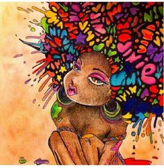 colorful afro on girl - Art - drawing