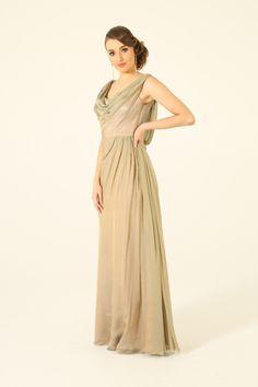 Beige Cowl Neck Evening dress by Tania Olsen Designs