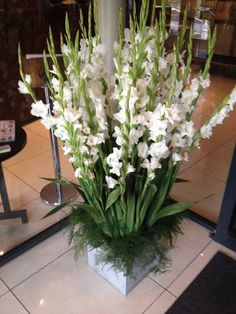 idea for candle stands at back of alter white gladiolas arrangement