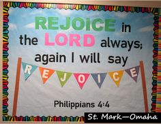 Sunday school bulletin board - Philippians done in cheery colors contrasting with black. A nice bulletin board to use in the spring and summer. Bible Bulletin Boards, Summer Bulletin Boards, Classroom Bulletin Boards, Christian Classroom, Christian Bulletin Boards, Kids Church Decor, Children Church, Classroom Door Signs, Sunday School Classroom