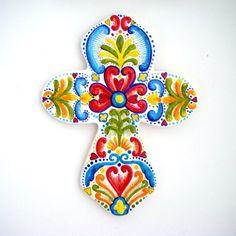 Pintado a mano Cruz cerámica arte folk sueco Cruz celta turquesa azul amarillo rojo corazones colgando de la pared regalos de Pascua - hecho a pedido