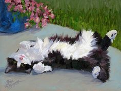 Cat On A Hot Day Painting by Alice Leggett