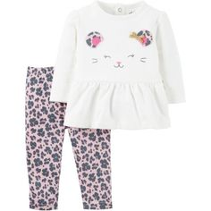 Child of Mine by Carter's Newborn Baby Girl Ruffle Long Sleeve Shirt and Pant Outfit Set