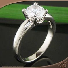 14k White gold Four Prong Solitaire