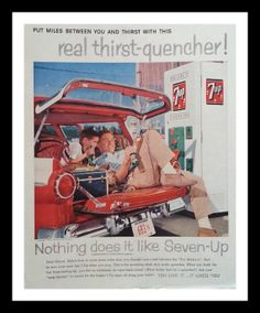 Original vintage magazine ad for Seven Up with an image of a great old soda vending machine. Tagline or sample ad copy: Put miles between you and thirst with this real thirst quencher Publication Year: 1958 Approximate Ad Size (in inches): x Condition: VG Retro Advertising, Vintage Advertisements, Vintage Ads, Vintage Images, Vintage Soft, Retro Ads, Magazine Ads, Print Magazine, Soda Vending Machine