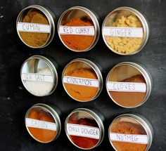 DIY magnetic spice rack--how about just sticking magnets to the bottoms of the small spice jars?