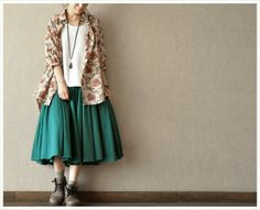 ReTro Light Flower Linen Loose cotton Women Shirt Cotton Top Blouse --women Clothing on Etsy, Long Skirt Looks, Flower Shirt, Mori Girl, Cotton Skirt, Frocks, Casual Looks, Blouses For Women, Fall Outfits, Trending Outfits