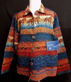 EXC Woven Western Tapestry Jacket Horses Button Front New with Tags NWT Medium #JaneAshley #BasicJacket #Casual