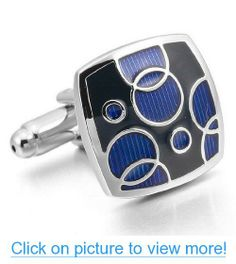 JBlue Jewelry Men's Rhodium Plated Cufflinks Black Blue Bubble (with Gift Bag)