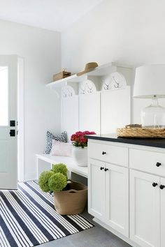 Stripe mudroom rug