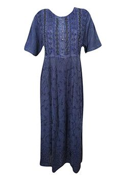 bed166d507d Mogul Interior Women s Maxi Dress Blue Embroidered Stonewash Fit Flare  Dresses L