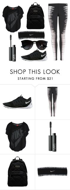 """""""Black Workout"""" by sarahbethhewitt ❤ liked on Polyvore featuring NIKE, NARS Cosmetics, Marc by Marc Jacobs and Ray-Ban"""