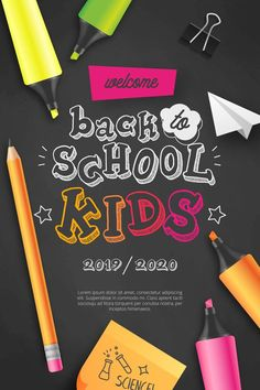 Welcome back to school kids Free Vector Back To School Kids, Welcome Back To School, School Supply Labels, School Brochure, Folder Design, Borders And Frames, Vector Photo, Displaying Collections, Holidays And Events