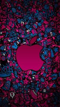 Pink apple play is an iPhone wallpaper with cartoon style background and pink apple logo in pink and blue