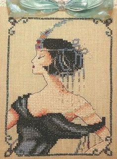 point de croix portrait femme - cross stitch lady portrait