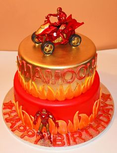 I could do this just one layer and maybe some cupcakes to go along...ironman cakes | Iron Man Cake | Flickr - Photo Sharing!
