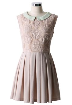 Peach Floral Embroidered Peter Pan Collar Dress