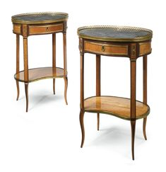 A PAIR OF LOUIS XV/XVI TRANSITIONAL ORMOLU-MOUNTED AMARANTH AND SATINWOOD TABLES EN CHIFFONNIÈRE CIRCA 1774, ONE BEARING THE STAMP P. PIONIEZ