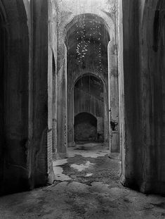 archways in abandoned castle