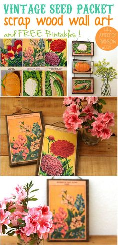 Make beautiful wall hanging art / decor from FREE printable vintage French seed packets and scrap wood! Great gift for anyone who loves gardens and vintage!