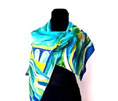 sciarpa di seta pitturato a mano leggera e luminosa con