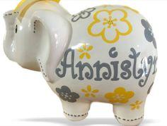Personalized Large Elephant Piggy Bank Yellow/Gray Flower - Newborns, Birthday Girls, Flower Girl, Baby Shower Gift Centerpieces by KUTEKUSTOMKREATIONS on Etsy