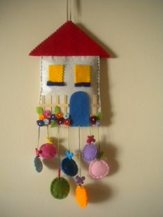 Felt house wall and door ornament .- Keçe ev duvar ve kapı süsü…. Felt house wall and door ornament …. Home Crafts, Diy And Crafts, Crafts For Kids, Arts And Crafts, Felt Christmas, Christmas Crafts, Christmas Houses, Felt Crafts, Fabric Crafts